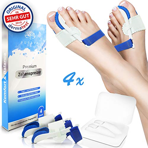 Hallux Valgus Nachtschiene (DERMATEST: SEHR GUT - PURAVA® [4x] Hallux Valgus Zehenspreizer - Ideal für Tag & Nacht - Inklusive hygienischer Transportbox - Optimaler Tragekomfort dank innovativem Soft Gel Silikon - BPA frei)