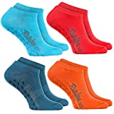 Rainbow Socks 4 Paar Kurze ANTIRUTSCH-Socken by Baumwollereiche STOPPERSOCKEN, ideal für: Glatte Fußböden Yoga Trampolinspringen JEANS ROSA TÜRKIS ORANGE 39/41 Oeko-Tex-Zertifikat, Made in EU