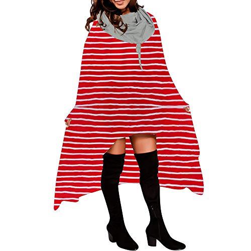 Subfamily Langarmshirts Damen, Frauen Herbst Lose Lange Langarm mit Kapuze Asymmetrische Saum Kariert Pullover UnregelmäßIge Hoodie Bluse Tops Sweatshirt Damen Blusenkleid (Rot, ()