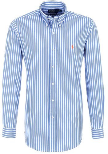 Ralph Lauren Herren Hemd, Blue White, Orange Pony, Striped, Custom Fit 13be93f47bd
