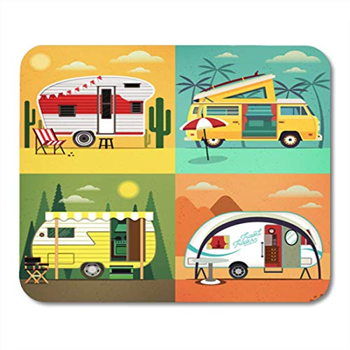 Navy Dessert (HOTNING Gaming Mauspads, Gaming Mouse Pad Colorful of Travel Trailer Caravans Different Landscapes Forest Beach Dessert 11.8