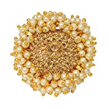 #9: Mansiyaorange Wedding Party Collection Pearl Adjustable Ring for Women (One Gram Gold)