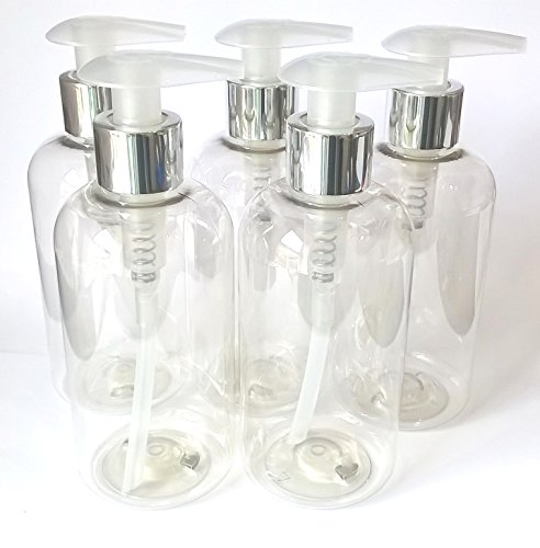 5 X 250ML Empty Plastic Bottle with Silver chrome Lotion Pump Dispenser - Clear PET Recyclable