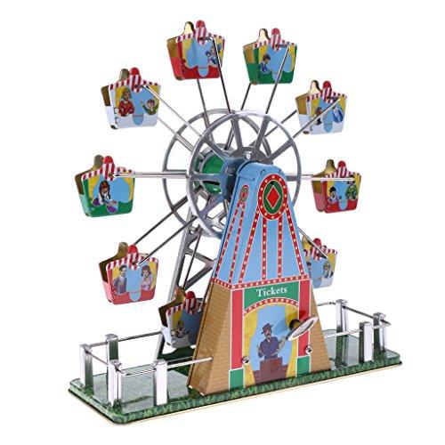 MagiDeal Jouet Mécanique Ancien Métal Roue de Ferris Avec Musique Modèle Liquidation Clockwork étain Jouet de Collection Cadeaux Enfants