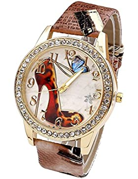 JSDDE Uhren,Oktoberfest Vintage Damen Strass Armbanduhr Schuhe mit hohem Absatz Muster Analog Quarzuhr Retro Uhr...