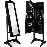 Deuba Schmuckschrank mit Spiegel schwarz, stehend & abschließbar Standspiegel Schmuckkasten Spiegelschrank, 154x40x40cm
