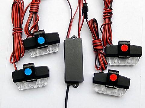BiaoChi Car Auto LED 6 Flash Modes 12V 4W Hazard Security Emergency Warning Flashlight Grill Grille Dash Deck Strobe Light Lamp Bar KM315 (Amber)