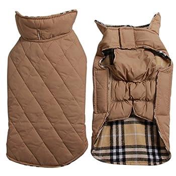 Manteau en tissu écossais réversible pour chien imperméable et coupe-vent chaud pour les temps froids, offert en 7 tailles, beige