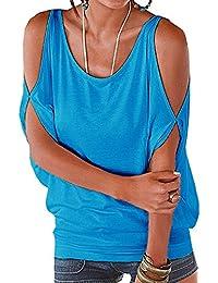 Landove Camisetas Sin Tirantes Mujer Básica Tops Manga Corta T Shirt Verano Elegante Moda Blusa Casual