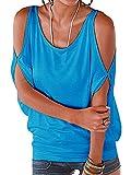 Landove Camisetas Sin Tirantes Básica Tops Manga Corta T Shirt Verano Elegante Moda Blusa Casual Pullover Tunica Lisos para Mujeres ES40 / L Verde C