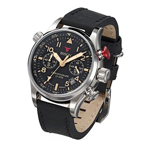 Bison Herren Uhr Armbanduhr Quarz Bison No. 7 BI0007BK Leder
