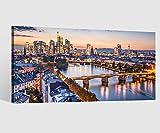 Leinwandbild Leinwand Skyline Frankfurt Brücke Landschaft Bild Bilder Wandbild Holz Leinwandbilder Kunstdruck vom Hersteller 9AB647, Leinwand Größe 1:60x30cm