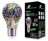 Lampadina a LED greenandco® con effetto fuochi d'artificio 3D per un'illuminazione d'atmosfera decorativa E27 A60 4W 80lm 360° 230V, nessun sfarfallio, non dimmerabile