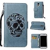 Thrion Galaxy S5 Gotischer Stil Hülle Handyhülle Galaxy S5 [ Gratis Panzerglas Schutzfolie ] [Premium Leder] [Standfunktion] [Kartenfach] [Magnetverschluss] Der schädel Muster Schlanke Leder Brieftasche für Galaxy S5 - Blau