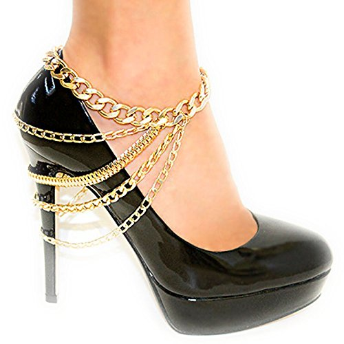L'oro caviglia braccialetto placcato la catena del calzino multipla scarpe col tacco alto decorazione dei monili per le donne
