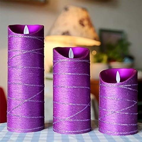 Satz von 3 Purple Pillar Real Wax Flammenlose Kerzen mit Auto Timer Feature