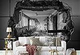 Vlies Fototapete Fotomural - Wandbild - Tapete - Gebäude Zerfallen Loch Mauer Gepanzert - Thema Architektur - MUSTER - 104cm x 70.5cm (BxH) - 1 Teilig - Gedrückt auf 130gsm Vlies - 1X-1290232VEM