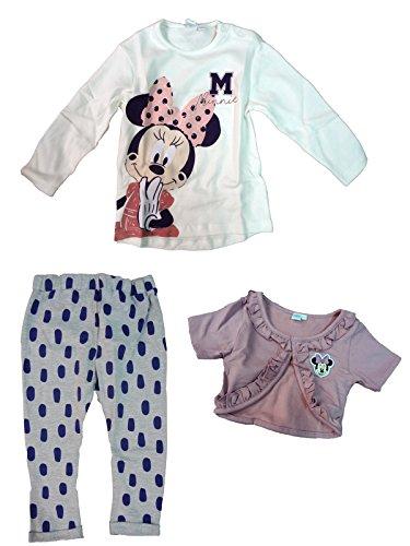 Completo neonata t-shirt manica lunga + scaldacuore + pantalone minnie topolina disney art. wd101249 (36 mesi, panna)