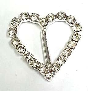 10 x Strass cristal coeur et boucles de ruban pour la confection de cartes, Invitations de mariage