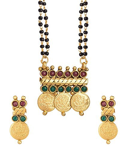 YouBella Temple coin Mangalsutra Pendant with Chain and Earrings for Women