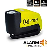 Urban Security UR6 Candado Antirrobo Disco con Alarma+Warning 120dBA, 6 mm, Made In EU, Multicolor, Única