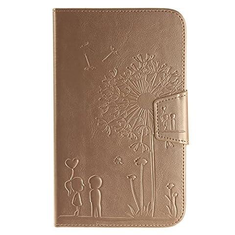 GHC Taschen & Hüllen, Löwenzahn-Präge-Blumen-Muster-Normallack-Mappen-Standplatz-Fall-Abdeckung für Samsung-Vorsprung 3 8.0 Zoll T310 T311 ( Color : Gold , Size : -Samsung Tab 3 8.0 Inch T310 T311 )