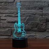 3D Night Light 7 Couleur Creative Guitare Électrique Modèle Illusion Led Décoloration Usb Télécommande Tactile Capteur Bureau