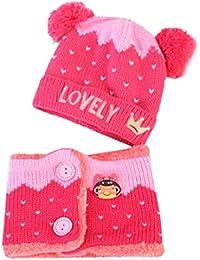 Tpulling Bonnet Bebe, Bébé garçon filles enfants lettre chapeau Couronne + écharpe  2pcs enfant tricotant 6c646b11e3d