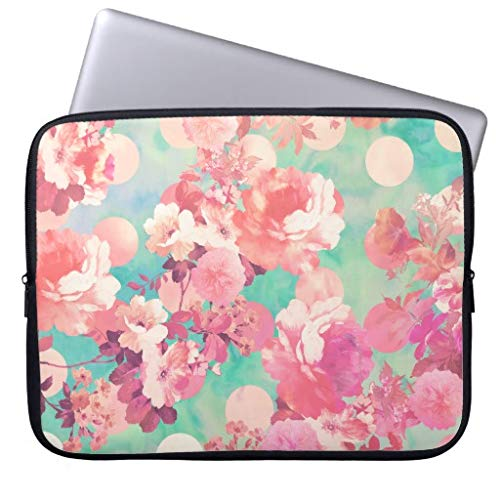 Pink Polka Sleeve (Romantic Pink Retro Floral Pattern Teal Polka Dots Pattern Computer Sleeve 11.6 12 Inch Laptop Sleeve Gifts for Women Men)