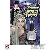 Nagellack und Lippenstift in Zombiegrau / Halloweenschminke / Faschingsschminke
