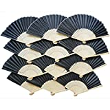 YXJD 12pcs DIY Handfächer Bambus Fächer Faltbar Tragbar für DIY Deko Hochzeit Tanzen Kirche Party Geschenke Schwarz