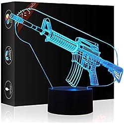 3d Illusion lámpara jawell Luz nocturna Modelo Decorativo Luz 7Colores Switch by Smart Touch Button Creative regalo Home Office decoración