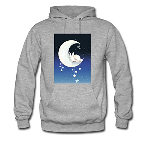 HGLee Printed Personalized Custom Art rabbit Women's Hoodie Hooded Sweatshirt Gray