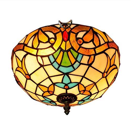 12-Zoll-Tiffany-Stil-Deckenleuchten, Buntglas-Deckenleuchte, kreative Barock-Pendelleuchte für Wohnzimmer Schlafzimmer Gang Badezimmer, E27, Max 40 W * 2 - Barock Deckenleuchte