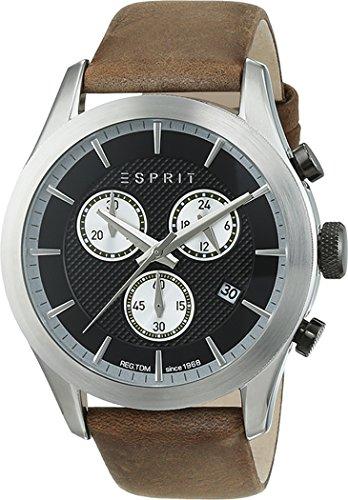 Esprit TP10841 Dark Brown Men's Quartz Watch with Black Dial Analogue Display and Brown Leather Strap ES108411001