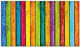Wallario Herdabdeckplatte/Spritzschutz aus Glas, 3-teilig, 90x52cm, für Ceran- und Induktionsherde, Buntes Holz - Bunte Streifen mit Farbe und Holzstruktur