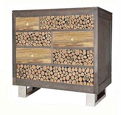 The Wood Times Kommode Texas, FSC100%, 7 Schubladen, Mangoholz Holz Braun 100 x 40 x 118 cm - Braun 7 Schublade Kommode