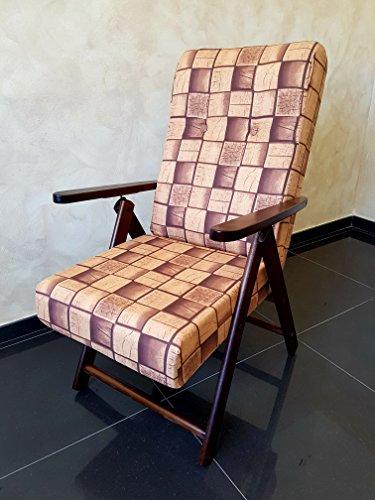 Poltrona sedia sdraio molisana (marrone) in legno pieghevole cuscino imbottito soggiorno cucina salone divano