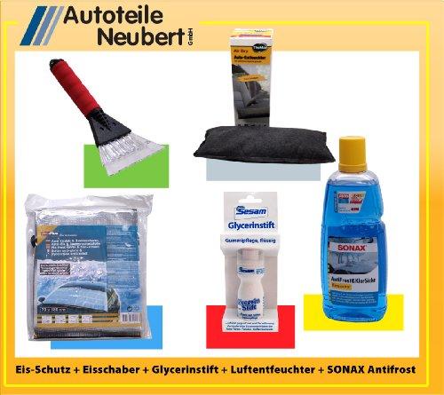Anti-Eisfolie + Eiskratzer + Luftentfeuchter + Glycerinstift + Scheibenfrostschutzkonzentrat