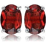 JewelryPalace Naturale Viola Ametista Azzurro Topazio Rosso Granato Verde Peridoto Citrino Orecchini 925 Sterling Argento
