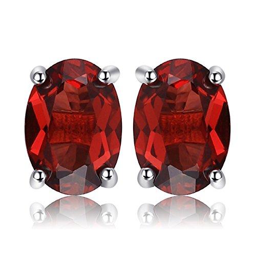 JewelryPalace Oval 2ct Natürliche Rote Granat Birthstone Ohrschumck Ohrstecker Ohrringe Set Damen 925 Sterling Silber