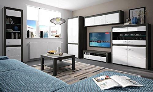 Wohnzimmer komplett 1662021 Wohnwand 5-teilig schwarzkiefer / weiß Hochglanz - 6