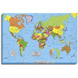 Cuadro Lienzo mapa del mundo en bastidor de madera, listo para colgar (120x80)