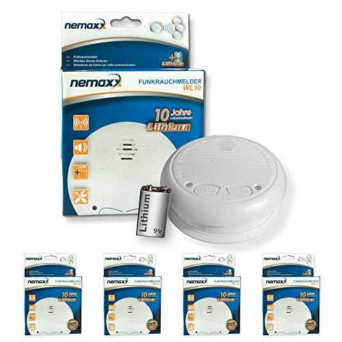 4x Nemaxx WL10 Funkrauchmelder - mit 10 Jahre Lithium Batterie Rauchmelder Feuermelder Set Funk koppelbar vernetzt - nach EN 14604