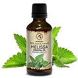 Huile Essentielle Melisse 50ml - Melissa Indicum - Inde - 100% Pure et Naturelle - Idéale pour Aromathérapie - Bain Aromatique - Diffuseur - Huile Melissa