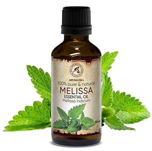 Melissenöl 50ml - Mellissa Indicum - Indien 100% Naturreines Ätherisches Melisse Öl für Guten Schlaf - Rumduft - Aromatherapie - Entspannung - Aroma Diffuser - Duftlampe - Melissen Öl