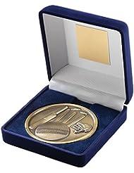 JR6-TY141A terciopelo azul caja + Medal Cricket Trophy–oro antiguo 4in incluye grabado gratis (hasta 30caracteres)