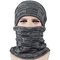VORCOOL Sombreros de Punto de Invierno Bufanda Gruesa Guantes de Fibra poliacrílica para Hombres y Mujeres (Gris)