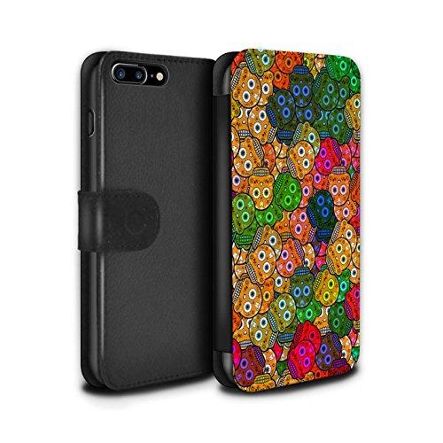 Stuff4 Coque/Etui/Housse Cuir PU Case/Cover pour Apple iPhone 7 Plus / Jaune/Rose Design / Crâne Calavera Collection Orange