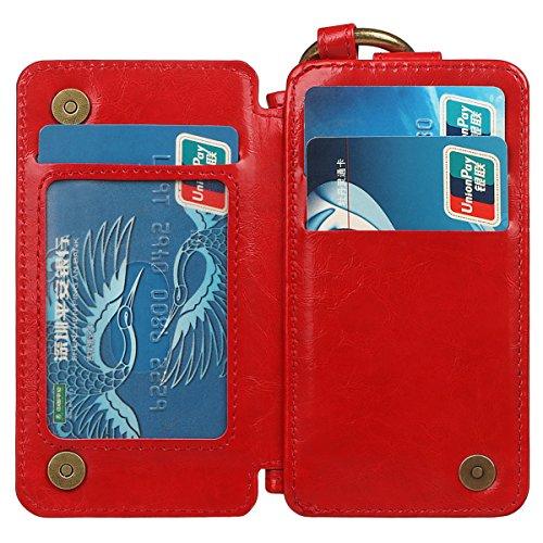 Hülle für iPhone X/10, xhorizon Erstklassiger weicher PU-Leder-magnetischer abnehmbarer Telefon-Kasten Tragetasche Geldbörse mit Kartensteckplätzen und Schlüsselanhänger Ring für iPhone X / iPhone 10 Rot